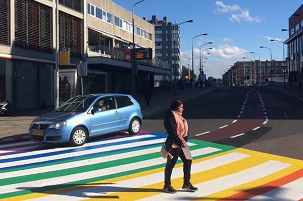 Eye-catching pedestrian crossing applied with PlastiRoute® RollPlast
