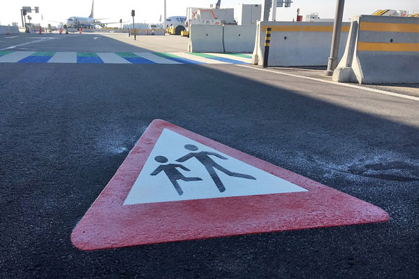 PREMARK® preformed thermoplastic used as road markings in Airport