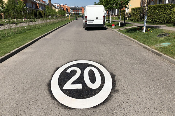 Finished speed limit marking