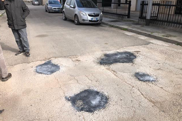 Potholes repaired with ChipFill