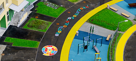 "colorful markings in the ""Green City"""