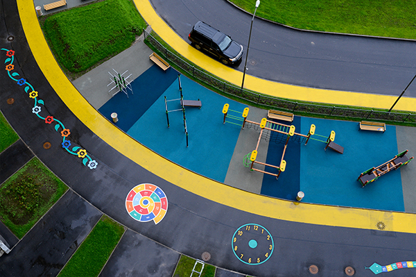 view from above on the playground