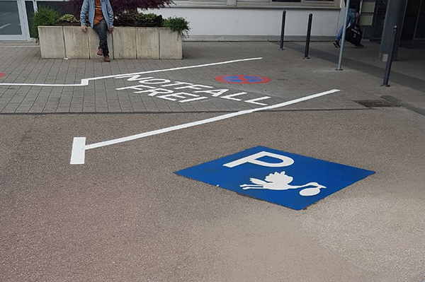Parking space with blue marking and a stork
