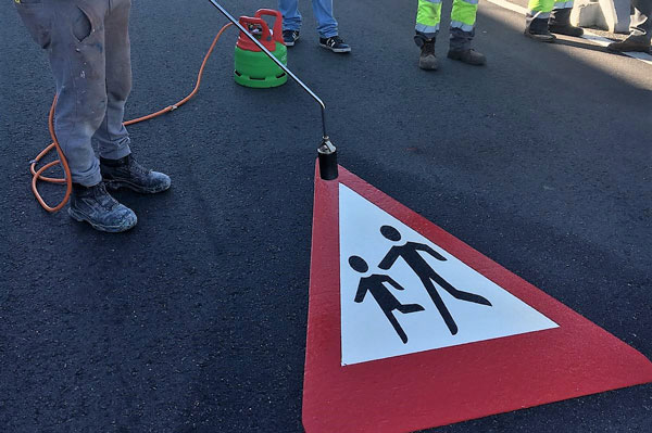 Application of PREMARK pedestrian road marking sign