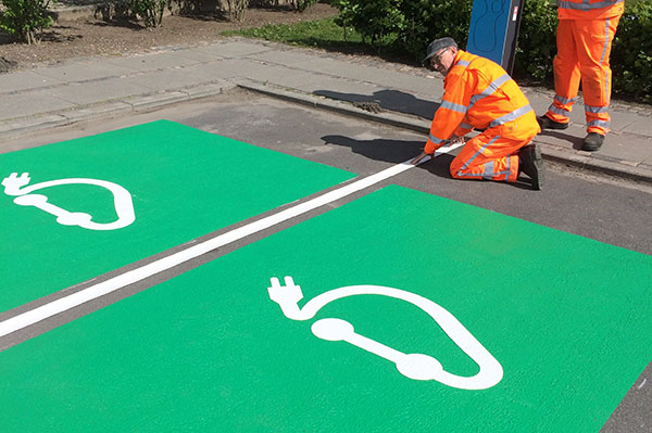 Green electric car parking marking